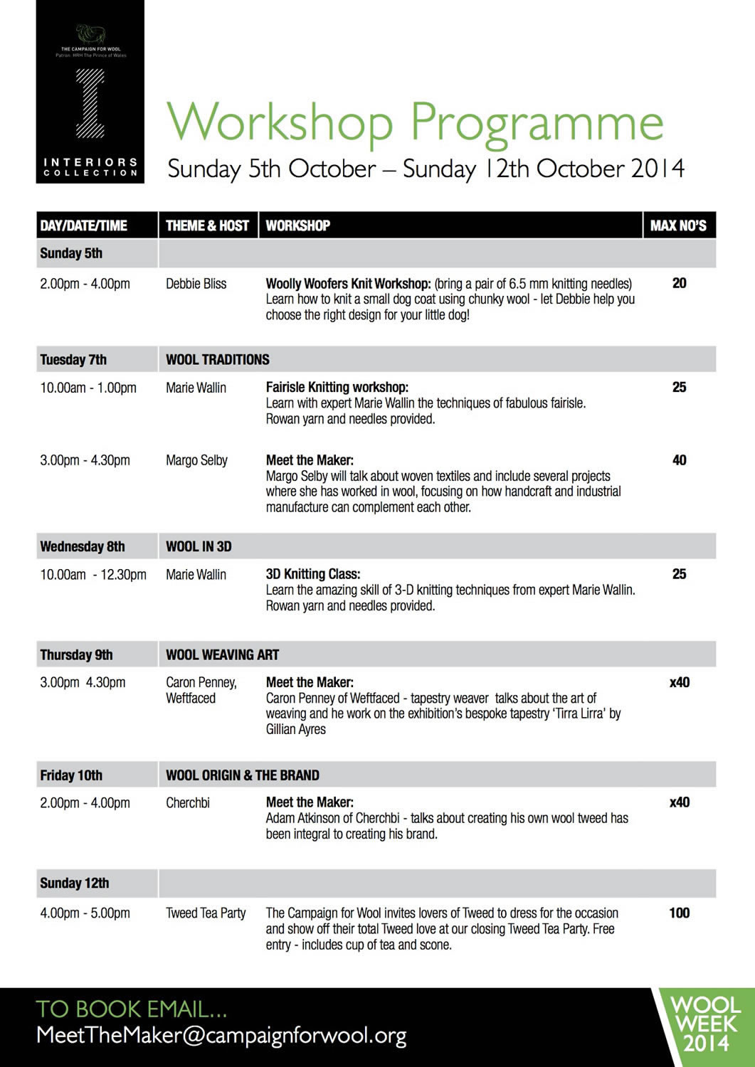 Wool Collections Interiors Workshop Schedule