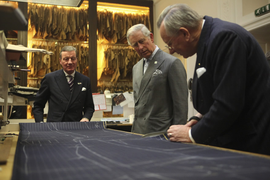 HRH Prince Charles with the tailors at Anderson & Sheppard