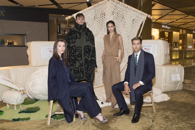 Models wear wool designs by Ginger & Smart, STRATEAS CARLUCCI, Bianca Spender and M.J.BALE.