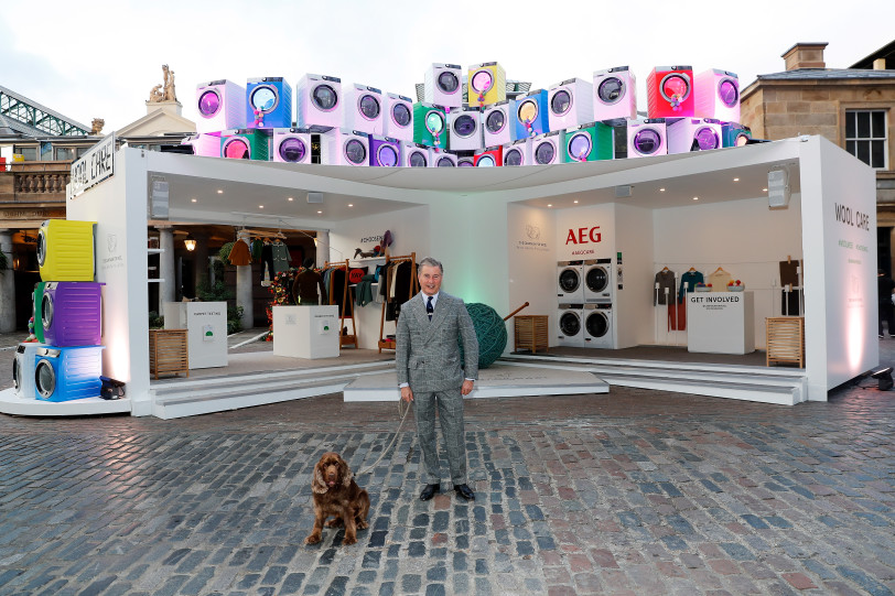 LONDON, ENGLAND - OCTOBER 11:  Jeremy Hackett launches Wool Week 2018 by unveiling Wool Care Installation in the heart of Covent Garden Piazza on October 11, 2018 in London, United Kingdom.    Pic Credit: Dave Benett